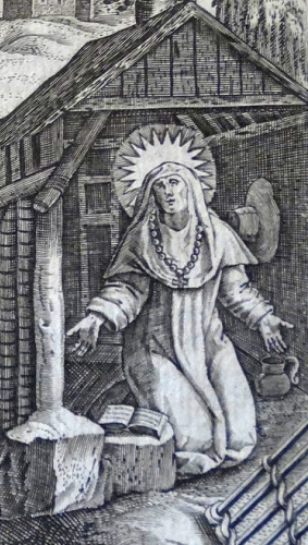 detail of an engraving of Blessed Ivette of Huy by Thomas de Lau, c.1586; uploaded by Philcotof; swiped from Wikimedia Commons