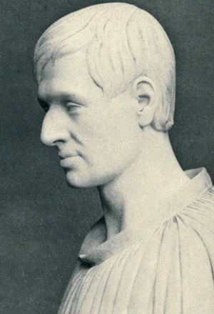 detail of a bust of Blessed John Henry Newman, by T. Westmacott, 1841; swiped from Wikimedia Commons