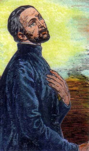 detail of an Italian holy card of Blessed John Munden, date and artist unknown; swiped from Santi e Beati