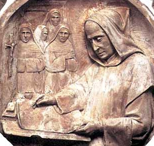 detail of a bas-relief roundel of Blessed John the Spaniard, date and artist unknown; swiped from Santi e Beati