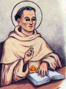detail of an antique Italian holy card of Blessed Leandro by Bertoni, date unknown; swiped from Santi e Beati