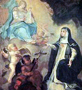 detail from a painting of Blessed Margaret of Ebner receiving one of her visions, artist unknown