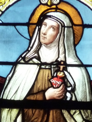 detail of a stained glass window of Blessed Marie of the Incarnation; date and artist unknown; Saint-Maclou, Pontoise, France; photographed on 2 June 2011 by GFreihalter; swiped from Wikimedia Commons