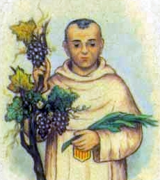 detail of an Italian holy card of Blessed Pedro Esteban Hernandez by Bertoni, date unknown; swiped from Santi e Beati; click for the oriiginal image