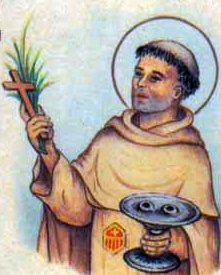 detail of an antique holy card of Blessed Pierre Camino by Bertoni, date unknown; swiped from Santi e Beati