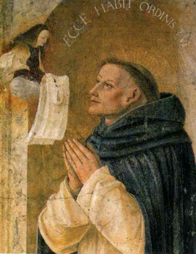 detail of a painting of Blessed Reginald of Orléans receiving the vision of the Blessed Virgin Mary; Butinone Bernardino, late 15th century; Santa Maria delle Grazie Church, Milan, Italy; swiped from Wikimedia Commons