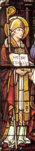 portrait of Blessed Richard in stained glass, artist unknown; from the Saint Meinrad Abbey, Saint Meinrad, Indiana, USA; many thanks to Shawn Henderson; pray for Shawn's vocation