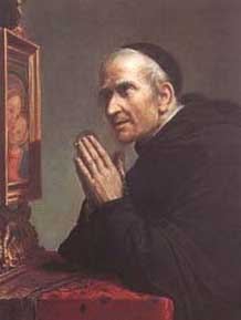 painting of Blessed Stephen praying before the image of Our Lady of Good Counsel, date and artist unknown
