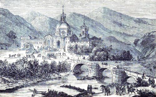 engraving of the Castle of Loyola, artist unknown, printed in the 1873 Illustrated Catholic Family Annual