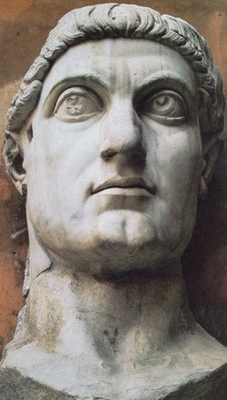 fragment of a statue of Constantine the Great, c.330, Capitoline museum, Rome, Italy