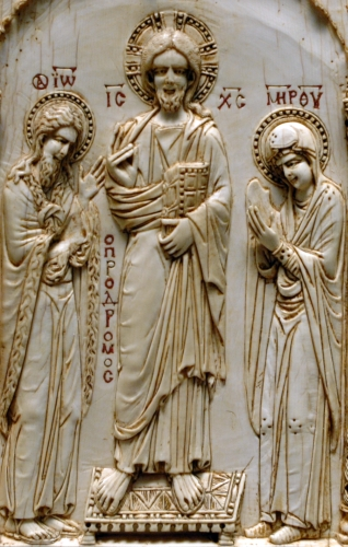 carved ivory Deesis image; 12th century, artist unknown; Louvre Museum, Paris, France; photographed in 2005 by Marie-Lan Nguyen; swiped from Wikimedia Commons