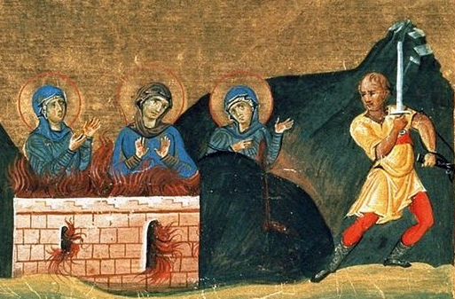 Agapia, Irene, and Chionia from the Georgian translation of Menologion of Basil II; swiped from Wikimedia Commons