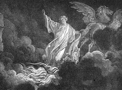 detail of the engraving 'Elijah's ascent in a chariot of fire' by Gustav Dore
