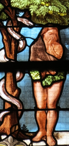detail of a stained glass window of Adam and Eve, date and artist unknown; Church of Saint Godard, Rouen, France; photographed on 25 July 2015 by Yoke; swiped from Wikimedia Commons