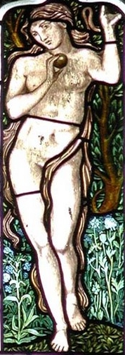 detail of a stained glass window of Adam and Eve; date and artist unknown; All Saints Church, Middleton Cheney, Northamptonshire, England; photographed on 9 June 2001 by John Salmon; swiped from Wikimedia Commons
