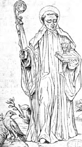 illustration of Saint Benedict of Nursia in a white habit, from 'A Garner of Saints', 1900, artist unknown