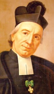 detail of a painting of Saint Joseph Benedict Cottolengo; Agostino Cottolengo, c.1850; swiped from Wikimedia Commons