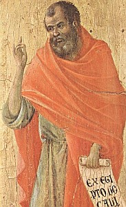 detail of a portrait of Hosea by Duccio di Buoninsegna, 1308-11, Museo dell'Opera del Duomo, Siena