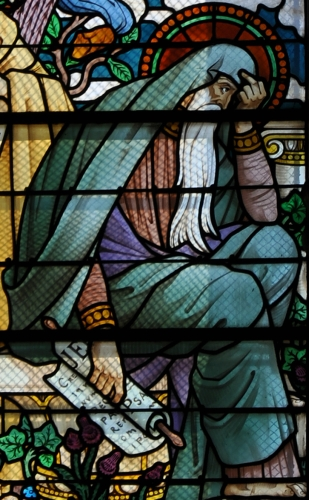 detail of a stained glass window of Jeremiah the Prophet in the basilica of Notre-Dame de Fourvière, Lyon, France; date and artist unknown; photographed on 13 August 2009 by Vassil; swiped from Wikimedia Commons