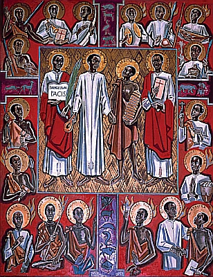 image of a holy card of the Martyrs of Uganda, based on a painting by Albert Wider, 1962