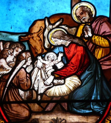 detail of a stained glass window depicting the Nativity, date and artist unknown; Church of Saint-Pierre Church-ès-Liens of Montrem, Dordogne, France; photographed on 11 March 2012 by Père Igor; swiped from Wikimedia Commons