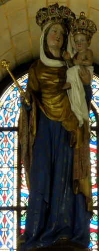 statue of Our Lady of Good Guard, date and artist unknown; Basilique Notre-Dame-de-Bonne-Garde de Longpont-sur-Orge, France; photographed on 11 August 2013 by P.poschadel; swiped from Wikimedia Commons