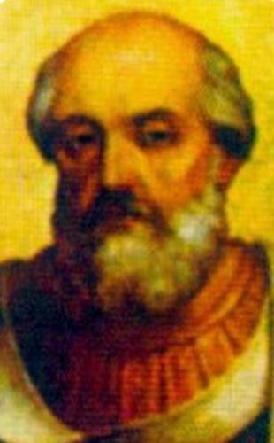 detail of a 9th century portrait of Pope Adrian II, artist unknown; Basilica of Saint Paul Outside the Walls, Rome, Italy