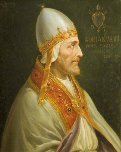 19th century portrait of Pope Adrian IV; swiped from Wikimedia Commons