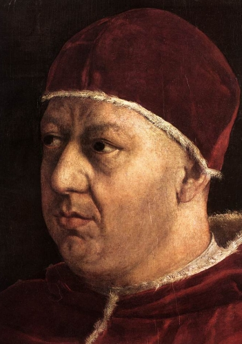 detail from 'Portrait of Pope Leo X with Cardinals Giulio de' Medici and Luigi de' Rossi', 1518-1519, Oil on panel, Palazzo Pitti, Galleria Palatina, Florence, Italy, by Raphael; swiped from Wikimedia Commons
