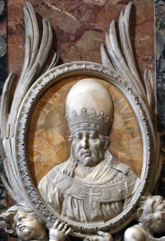 detail of a bas-relief portrait medallion of Pope Saint Julius I, date and artist unknown; Saint Peter's Basilica, Rome, Italy