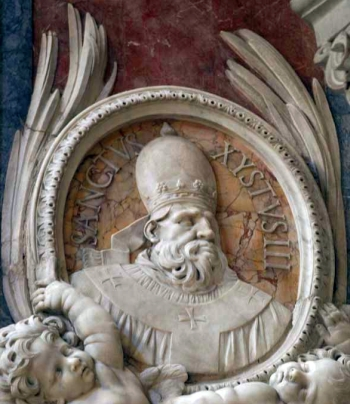 detail of a bas-relief portrait medallion of Pope Saint Sixtus III, date and artist unknown; Saint Peter's Basilica, Rome, Italy