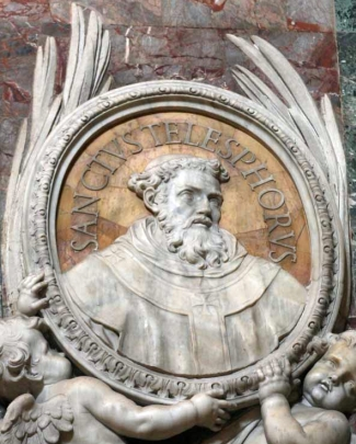 detail of a bas-relief medallion portrait of Pope Saint Telesphorus, date and artist unknown; Saint Peter's Basilica, Rome, Italy