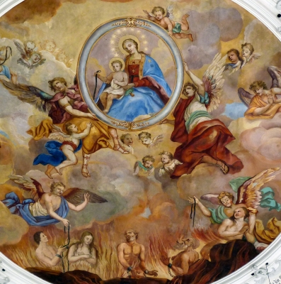detail of a fresco depicting Purgatory by Johann and Ignaz Finsterwalder, c.1738; nave dome, parish church of Saint Martin, Gabelbach, Zusmarshausen, Augsburg, Bavaraia, Germany; photographed on 28 April 2011 by GFreihalter; swiped from Wikimedia Commons