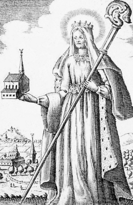 drawing of Saint Adelaide of Guelders from a 1718 flyer for pilgrims; swiped off Wikimedia Commons