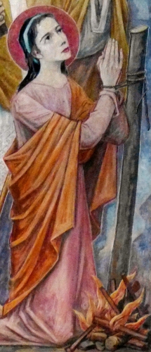 detail of a painting of Saint Ulrich and Saint Afra of Augsburg by Karl Radinger, date unknown; Marian altar, Church of the Holy Trinity, Augsburg, Bavaria, Germany; photographed on 4 February 2018 by Neutram; swiped from Wikimedia Commons