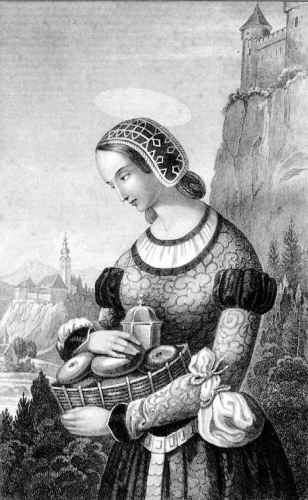 1855 book illustration of Saint Agatha Hildegard of Carinthia, artist unknown