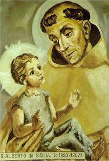 Saint Albert of Sicily holy card, artist unknown