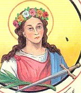 detail of an Italian holy card of Saint Alberta of Agen, by Bertoni, date unknown; swiped from Santi e Beati