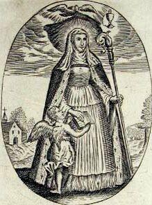 detail from an antique Saint Aldegundis holy card
