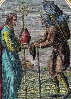 detail from an antique Italian hold card of Saint Alexander the Charcoal Burner