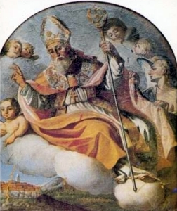 detail of an antique San Amato di Nusco holy card, date unknown, artist unknown; swiped with permission from the Santini Imagini web site