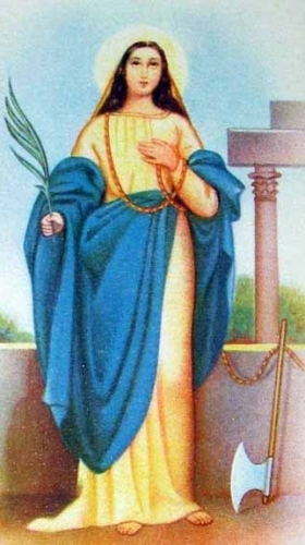 detail of an antique Italian holy card of Saint Amelia, date and artist unknown; swiped from Santi e Beati