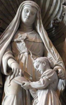 detail of a statue of Saint Angela Merici; by Pietro Galli, 1866; Saint Peter's Basilica, Vatican City, Rome, Italy
