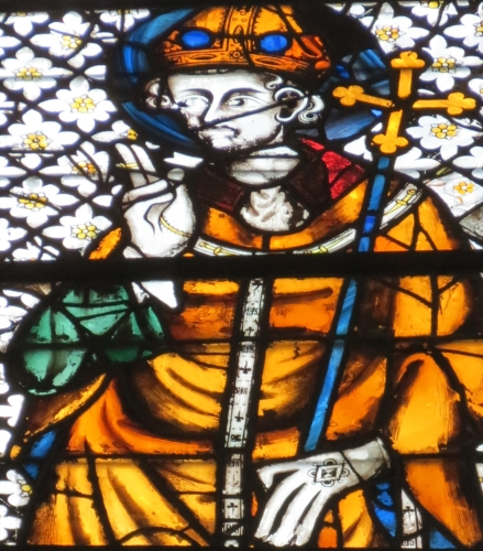 detail of a stained glass window of Saint Ansbert of Rouen, date and artist unknown; choir bay, church of Saint-Ouen, Rouen, France; photographed on 4 September 2012 by Giogo; swiped from Wikimedia Commons