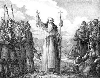 etching of 'Saint Ansgar preaching Christianity to heathen Swedes', by Hugo Hamilton, 1830; swiped from Wikimedia Commons