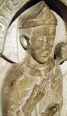 detail of a 13th-century bas-relief of Saint Apollonius of Brescia, old cathedral of Brescia, Italy; photographed on 28 December 2007 by Bolo77; swiped from Wikimedia Commons