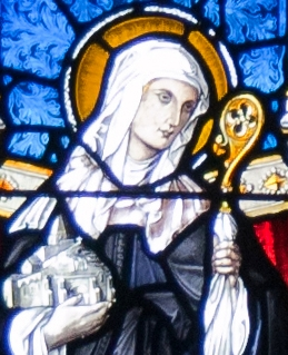 detail of a stained glass window of Saint Attracta of Killaraght, left part of the right window of the apse behind the altar, Church of the Immaculate Conception, Ballymote, County Sligo, Ireland; artist unknown, date unknown; photographed by Andreas F. Borchert on 23 September 2010; swiped off Wikimedia Commons