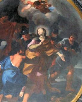 detail of a painting of Saint Aurea of Ostia by Anrea Sacchi, apse of the church of S. Aurea, Ostia-Antica, Italy
