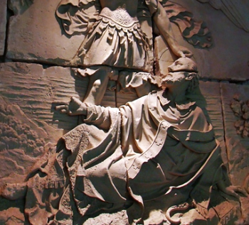 detail of a bas-relief of the vision of Saint Aubert of Avranches of the Archangel Michael ordering him to build a sanctuary on Mount Tomb; artist unknnown, Abbey of Mont-Saint-Michel, Manche, Normandie, France
