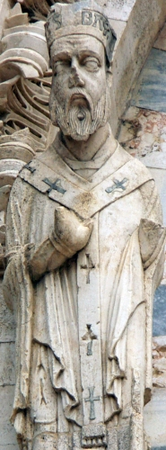 detail of a statue of Saint Bassus, cathedral of Termoli, Italy; date and artist unknown; photographed on 4 January 2009 by Vincimanno Capograssi; swiped from Wikimedia Commons